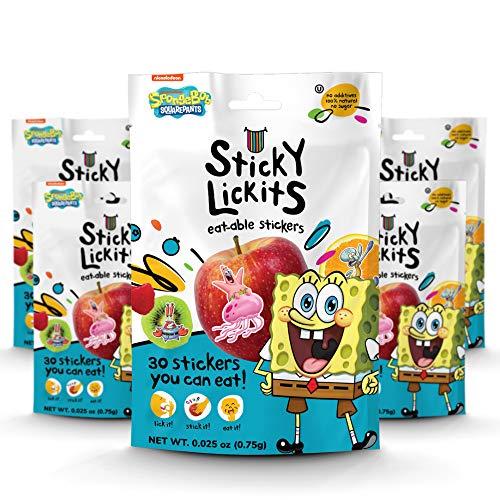 Spongebob StickyLickits All-Natural, No Sugar, Edible Stickers, 5-Pack