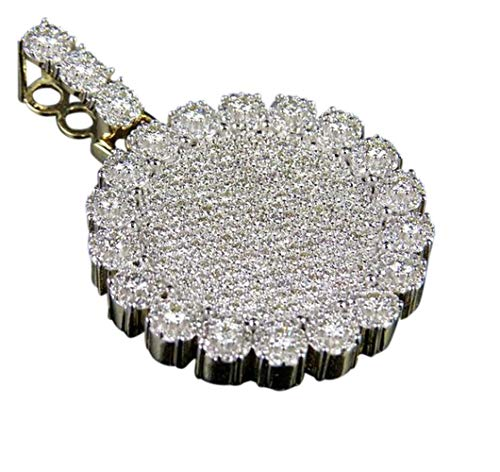 Photo of 2.50Ct Round Diamond Men's Round Large Pendant Necklace Yellow Gold Plated Silver
