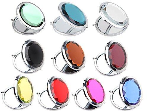 ECOSCO 10pcs Double Compact Cosmetic Makeup Round Pocket Purse Magnification Jewel Mirror (10pcs)