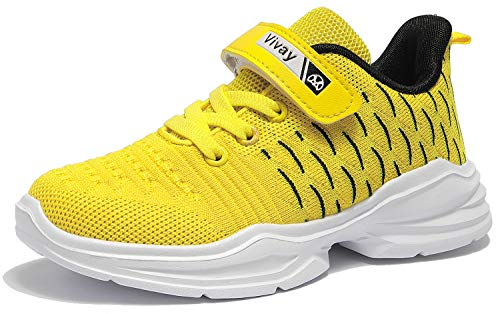 Vivay Boys Shoes Breathable Hook and Loop Ahletic Shoes Kids