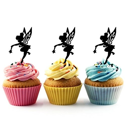 TA0025 Tinkerbell Peter Pan Silhouette Party Wedding Birthday Acrylic Cupcake Toppers Decor 10 pcs