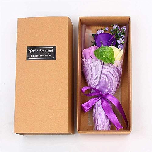 Coogg cadeauset voor Kerstmis, 3 bos bloemen met roos, swastoraten, cadeauset geschikt voor verjaardagscadeau, kerstcadeau, datum, party, enz. Trois Couleurs Mauve