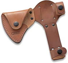 CRKT Woods Chogan Tomahawk Sheath: Full Grained Leather, Multiple Snaps, Belt Loops for Secure Carry of T-Hawk, for Use with CRKT 2730 D2730
