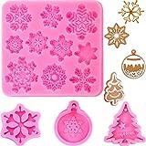 4 Pièces Moules à Gâteaux de Noël en Silicone Moules en Silicone Flocon de Neige Arbre de Noël 3D Moules en Silicone Fondant pour Fabrication de Pudding Bonbons Chocolat