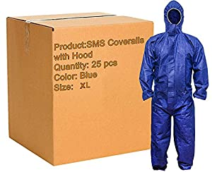 Pack of 25 Blue SMS Coveralls with Hood, Elastic Cuffs, Ankles, Waist. Chemical Protective Coveralls. Disposable Workwear for cleaning, painting, manufacturing. XL size. Lightweight, breathable.