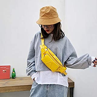 Fashion Single-Shoulder Bags Fashion Solid Color Letter A PU Single Shoulder Bag Zipper Messenger Bag Casual Waist Chest Pockets Bag (Black) (Color : Yellow)