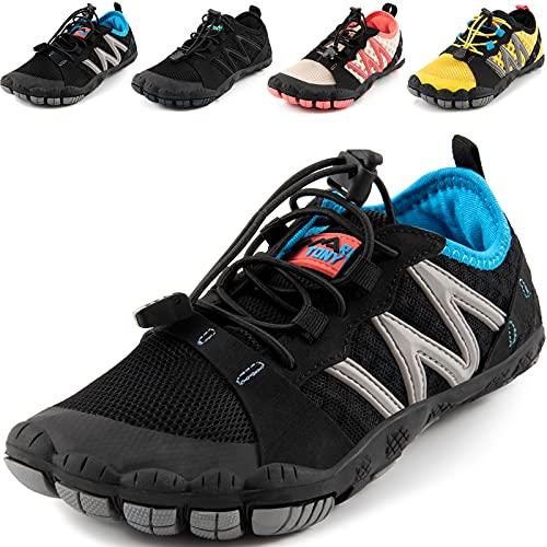 MARITONY Barfussschuhe Kinder Barfußschuhe Jungen Mädchen Leicht Atmungsaktiv Traillaufschuhe rutschfest Schnell Trocknend Sportschuhe, 31EU Schwarz-Blau