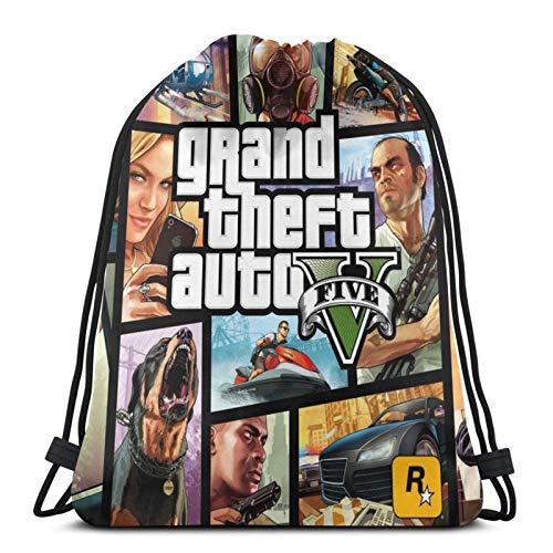 Bolsa de cordón Grand Theft Auto String Mochila Terylene para hombres y mujeres