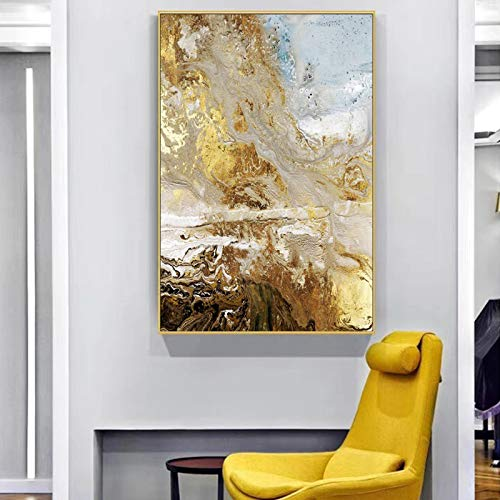 SADHAF Moderne goldene abstrakte Kunst Leinwand auf Poster und drucken Wandkunst Bild für Wohnzimmer nordische Dekoration A2 40x50cm
