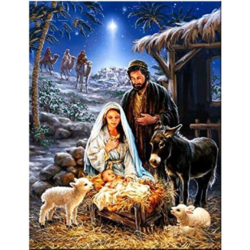Pintura Digital,Jesús Nacimiento Y Vaca Diy Pintura Digital Por Números Cuadro De Arte De Pared Moderno Decoración Del Hogar