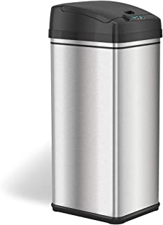 iTouchless 13 Gallon Stainless Steel Automatic Trash Can with Odor-Absorbing Filter, Wide Opening Sensor Kitchen Trash Bin...