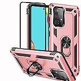 Funda para Samsung Galaxy A52 5G/A52S 5G/A52 4G, Con Protector de Pantalla, Rotación de 360 grados, Anillo de Metal con Absorción de golpes, Esquina Reforzada Para Galaxy A52 5G 6.5' Oro rosa