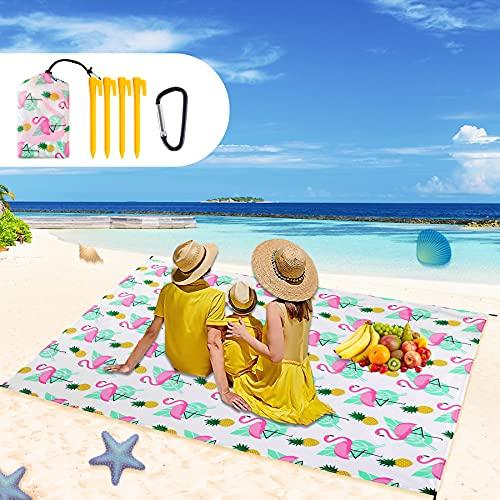 Picknickdecke, 220x165 cm Stranddecke Wasserdicht, Sandabweisende Campingdecke,Strandmatte,Faltbare tragbare Leichte Stranddecke,wasserdichte Stranddecke