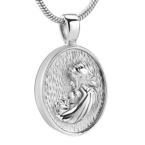 Mère et Enfant Amour Amour Mémorial Collier Urne - Ovale En Acier Inoxydable Bijoux De Crémation Cendres Titulaire Souvenir Pendentif ( Main Stone Color : Pendant with chain , Metal Color : Black )
