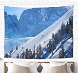 Topyee Home Decorative Tapestry Wall Hanging Jackson Skiing in Wyoming Hole Ski Snow Back Country 60