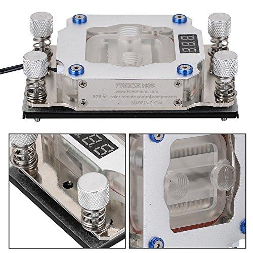 Goshyda Bloque de refrigeración por Agua, Bloque de Agua de Aluminio para CPU con Pantalla de Temperatura para AMD, Plateado