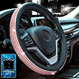Didida Bling Steering Wheel Cover for Women Girl Diamond Crystal Rhinestones Wheel Cover Universal 15 Inch (Red)