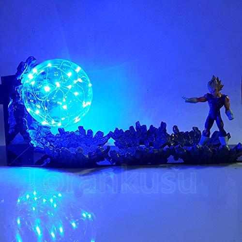 Dragon Ball Z Figura de acción Vegeta Super Saiyan Power Up Juguete de iluminación LED Dragon Ball Super Evil Vegeta Battle Doll DIY ball super dragon ball superdragon ball