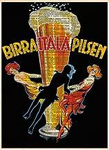 Vintage Beer art, Italian art print, vintage advertising, pilsner bar art