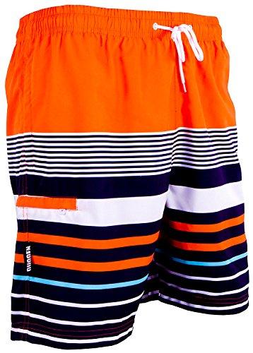 GUGGEN Mountain Badehose für Herren Schnelltrocknende Badeshorts 595 mit Kordelzug Beachshorts Boardshorts Schwimmhose Männer mit Muster Orange Schwarz L