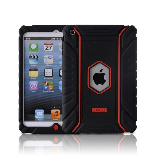 Honeycase Extreme-Duty Military Transformer Hybrid Shockproof & Drop Resistance Anti-slip Soft Silicone Case for iPad Mini - Black