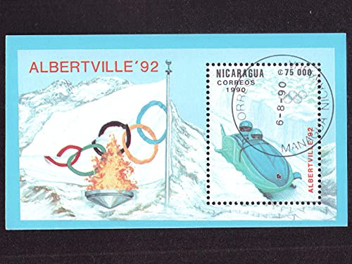 FGNDGEQN Colección de Sellos Nicaragua 1990 Abeville Winter Olympics Double Sleigh Stamp Small Stamps Have Been Sealed