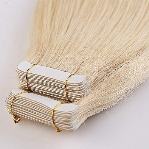 Tape Extensions Echthaar 40pcs 80g Remy Echthaar Haarverlängerung 100% Echthaar Extensions Tape In Weißblond #613 (16zoll-40cm)