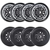 AOWISH 8-Pack Asphalt Outdoor Inline Hockey Wheels 85A Blades Roller Skates Replacement Wheel with Speed Bearings ABEC-9 and Spacers (Black, 72mm)