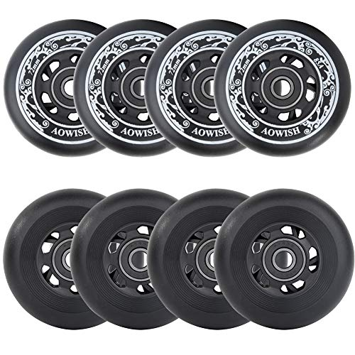 AOWISH Inline Skate Wheels 85A Outdoor Asphalt Formula Hockey Roller Blades Replacement Wheel with Bearings ABEC-9 and Aluminum Spacers (8-Pack) (Black, 76mm)