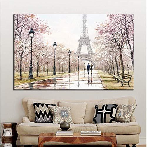 TBWPTS Canvas Schilderij Romantische stad liefhebbers Eiffeltoren landschap Hd Print Abstract olieverfschilderij Canvas Wall Art woonkamer Sofa Home Decor