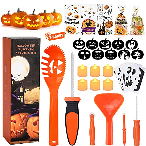 Pumpkin Carving Kit for Kids, 6 Easy Halloween Pumpkin Carving Tools Set, 6 LED Candles, 10 Carving Stencils & 20 Halloween Cellophane Candy Bags