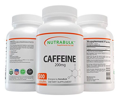 NutraBulk Premium Caffeine Capsules (200 mg) - All Natural, Pharmaceutical Grade Microencapsulated Supplement for Energy, Weight Loss, and Focus (500 Count)