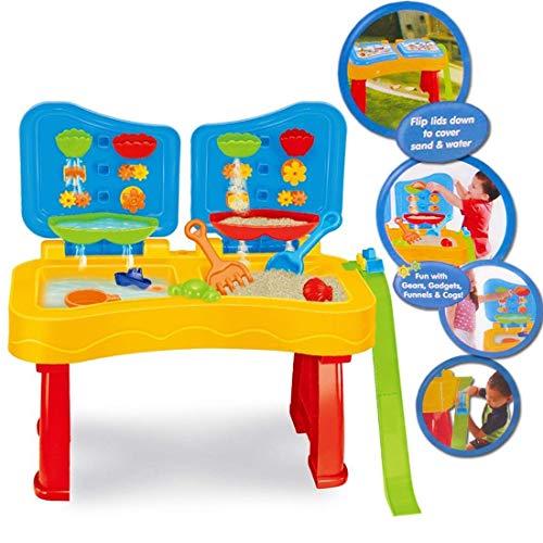 deAO Tavolo da Gioco con Acqua e Sabbia attività per Bambini all'Aperto Tavolo con Doppio Scomparto Include Molti Accessori e Coperchi Giocattolo per Ragazzi e Ragazze