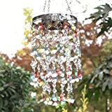 """Glitzhome Wind Chimes LED Solar Wind Chime 18.75""""H Hanging Decorative Garden Lights Multicolored Droplets Grace Chime Mini Chandelier for Home Garden Patio Yard"""