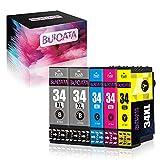 Buioata 34 cartuchos de tinta compatibles XL para impresoras Epson 34XL-T3471 T3472 T3473 T3474 para usar con impresoras WorkForce Pro WF-3720DWF WF-3725DWF, 2B/1C/1M/1Y, paquete de 5