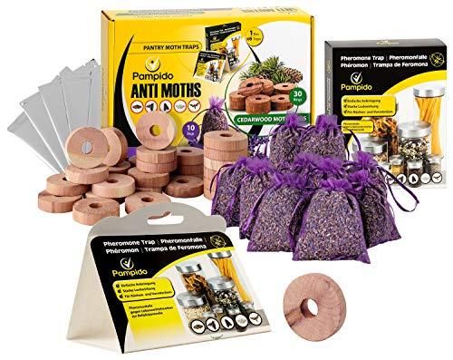 pampido Caja de mezcla de alimentos para polillas y antipolillas en la cocina y armario de ropa, trampa de feromonas lavanda y antipolillas