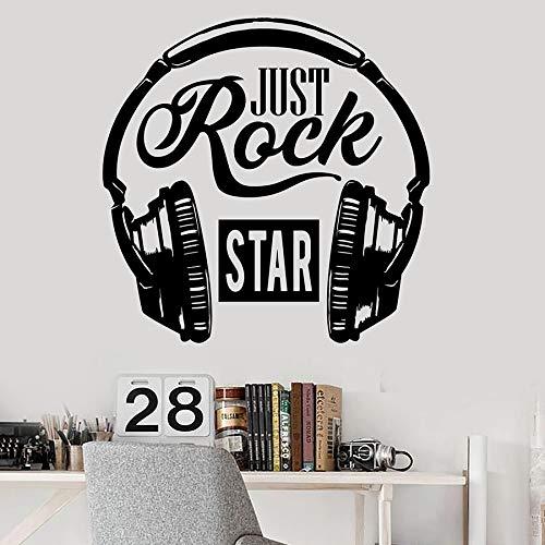 HGFDHG Calcomanía de Pared de música Rock, Palabra Amante de la música, Auriculares, Vinilo, Pegatina para Ventana, Dormitorio Fresco, Estudio de Canciones, Interior Art Deco
