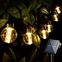Outdoor String Lights with Dimmable Waterproof Plastic Globe Bulbs, Clear 2700K Glow and Socket Base Decorative 8M G40...