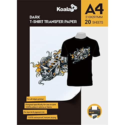 KOALA Inkjet Transferpapier zum Aufbügeln für Dunkle T-Shirt/Textilien, DIN A4, 20 Blatt. Für Tintenstrahldrucker