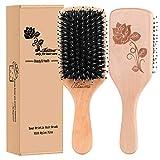 Hair Brush Boar Bristle Hair Brushes for Women Curly Hair, Best Paddle Detangling Brush Detangler for Girls Kids,Smooth Hair Add Shine