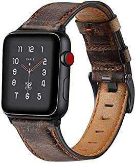 KEYSJEFF Compatible with Apple Watch Band 42mm 38mm 44mm 40mm Replacement Genuine Leather Vintage Strap Wristband for Iwatch Bands Men Women 83011 (Dark Brown,42mm/44mm)