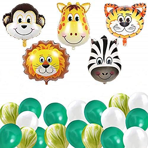ETLEE Kindergeburtstag Deko - 22 Zoll Zoo Tier Folienballons & Alles Gute zum Geburtstag Banner & Achat Latex Marmor Luftballons für Urwald Jungle Safari Party Dekoration