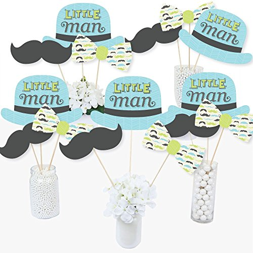 Dashing Little Man Mustache Party - Baby Shower or Birthday Party Centerpiece Sticks - Table Toppers - Set of 15