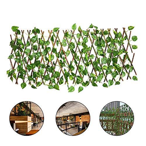 40 cm Vignes Vertes Plantes Artificielles Clôture Rétractable Décorative Jardin Clôture En Bois avec Topiaire Haie Plante Extensible Faux Artificielle Ivy Treillis Clôture