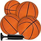 Bedwina Mini Basketballs - (7 Inch, Size 3) Pack of 4 - Mini Hoop Basketball Set with Air Pump for Indoor, Outdoor, Pool Parties, Small Hoops Basketball Game Party Favors for Kids