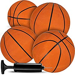 small Bedwina mini basketball – (7 inches, size 3), 4 packs – basketball set with indoor mini hoops,…