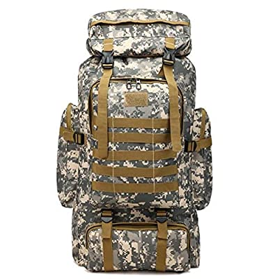 runzhong Waterproof Molle Camo Tactical Backpack Military Army Hiking Camping Backpack Travel Rucksack Outdoor Sports Climbing Bag Multicoloured, 80L