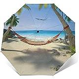 Plage Tropicale avec Un hamac Suspendu aux Palmiers Parapluie Compact Pliant Waterproof-Sun Block-Auto Open&Close (Colle Noire)