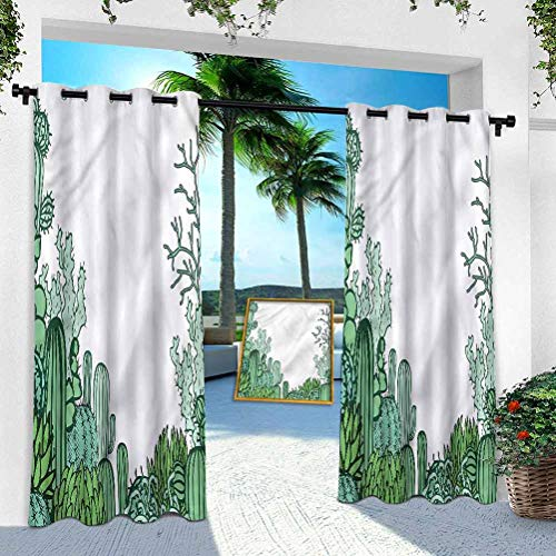 Aishare Store Outdoor Curtain for Patio Waterproof, Cactus,Arizona Doodle Desert, 100' x 84' Room Darkening Thermal Insulated Vertical Drapes for Front Porch & Canvas(1 Panel)