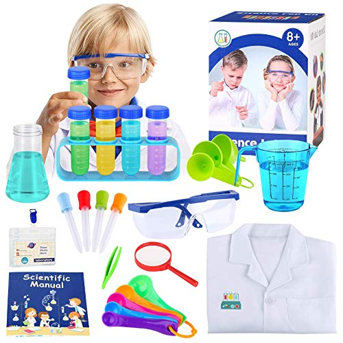 APERIL Kids Science Kit with Lab Coat, Science Experiments First Science Laboratory Kit Chemistry Set, Scientist Costume Dress Up and Role Play, STEM Toys Christmas Birthday Gift for Kids 6-12